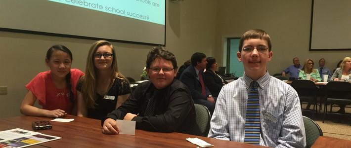 Student voice team attends Town Hall meeting with Commissioner of Education.